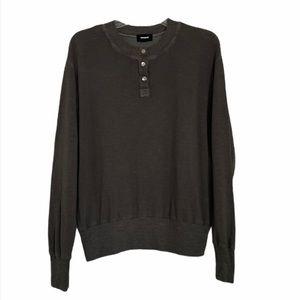 Monroe Green Henley Long Sleeve Sweater
